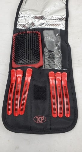 Hot Hair Tools Cool Carry Bag with Brush, Comb & Styling Clips - New