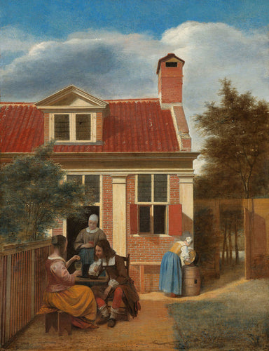 Pieter de Hooch - Figures in a Courtyard behind a House