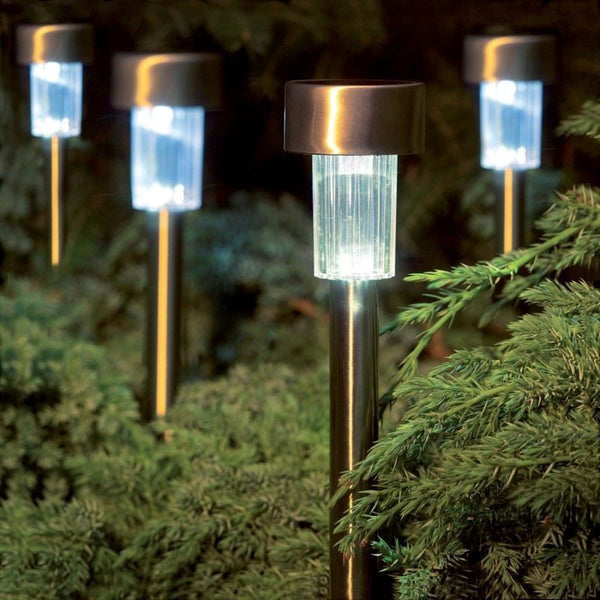 10 Piece Set of Stainless Steel Solar Lights