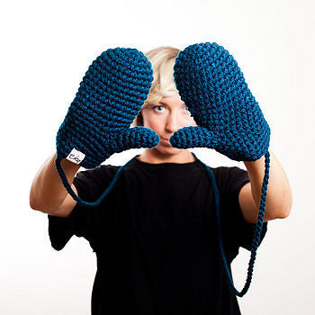 Organic Cotton Crochet Mittens With String