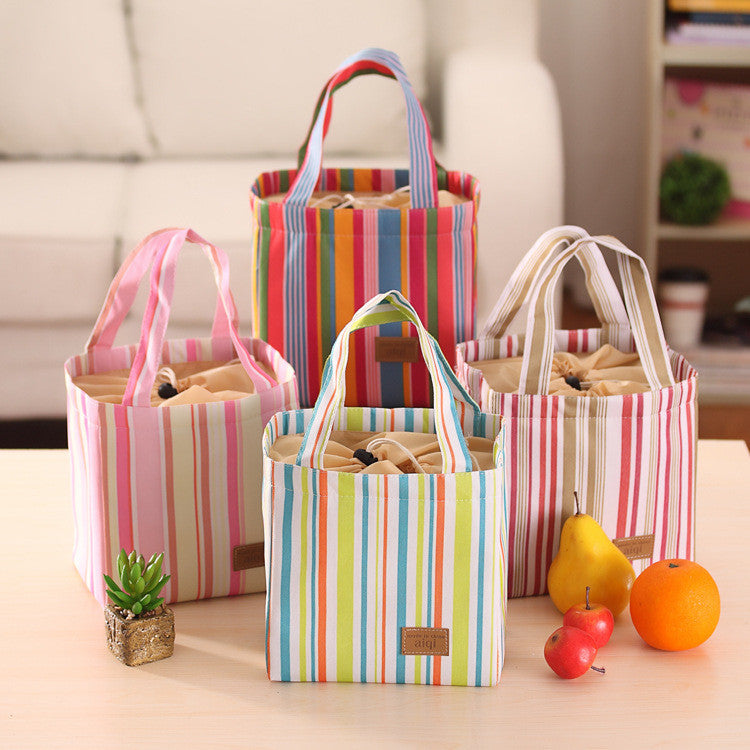 Vertical Striped Thermal Lunch Baskets