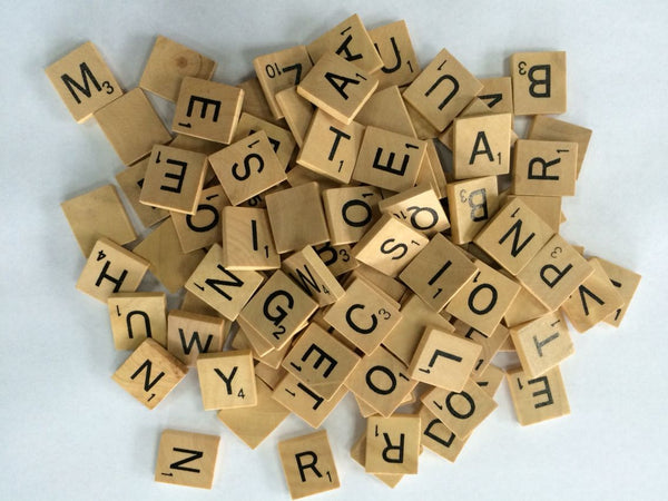 100 x WOODEN CRAFT TILES LETTERS