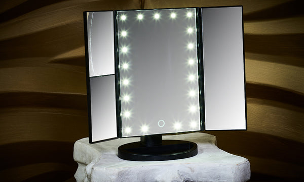 Globrite 21 LED Tri Fold Make Up Mirror - White or Black