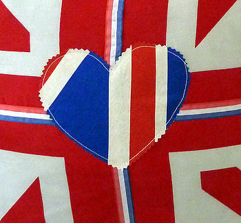 Union Jack Cushion Cover With Heart Applique