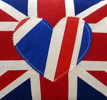 Oblong Union Jack Cushion With Heart Applique