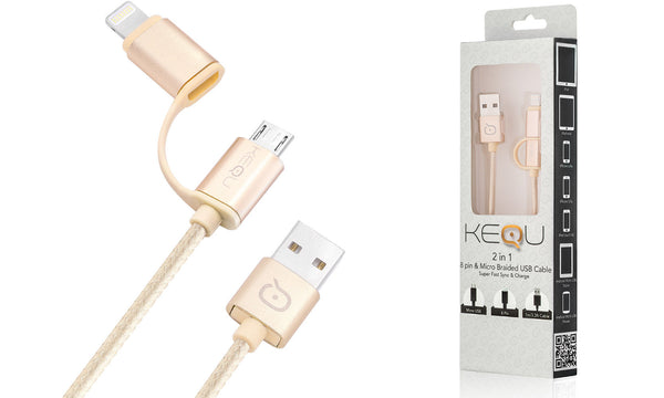 Kequ 2 in 1 Micro USB Cable with Lightning Adaptor