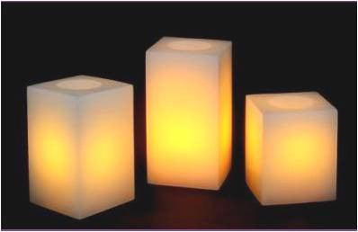 3 Flameless Pillar candle set (square)