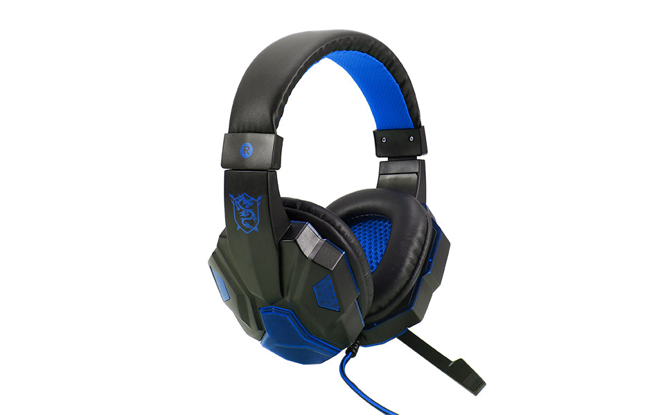 Gaming Headset with Microphone LED Lights and 2 in 1 Adapter Cable
