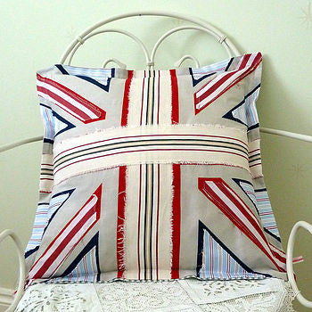 Union Jack Cushion Cover With Stripe Applique