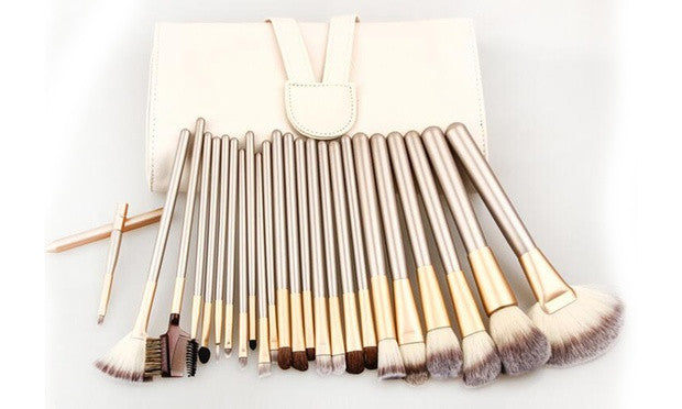 12 or 24 Champagne Gold Makeup Brush Set