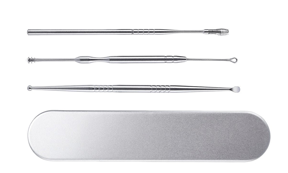 3pc Earwax Removal Kit With Metal Case