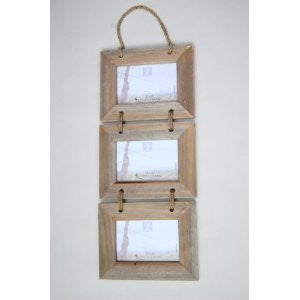 Three Hanging Driftwood Photo Frames on Rope