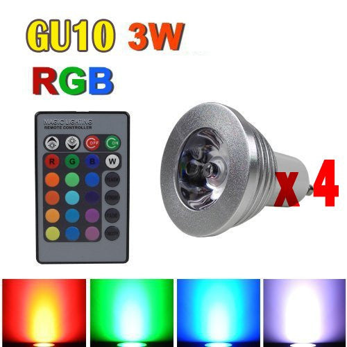 4x Color Changing RGB LED Light Bulb Lamp + Remote Control