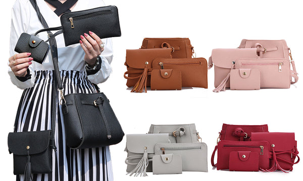4 Piece Tote Hand Bag Set