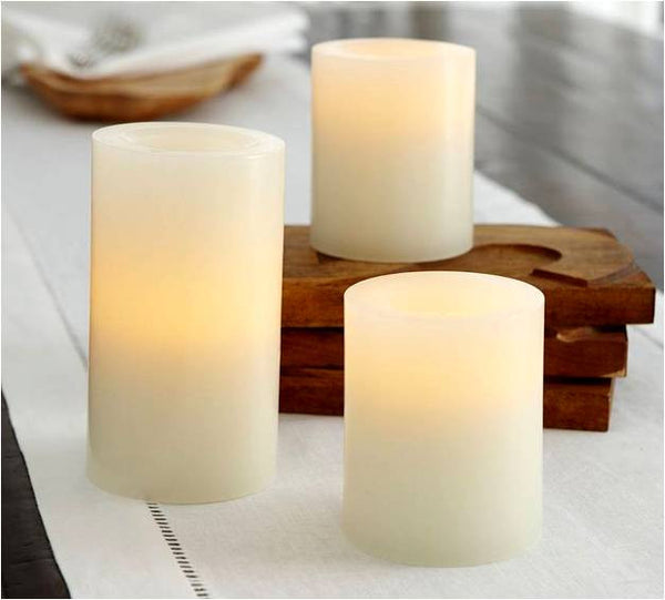 3 Flameless Pillar candle set