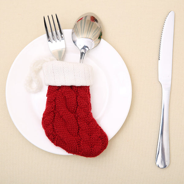 4pc Knitted Stocking Cutlery Sock