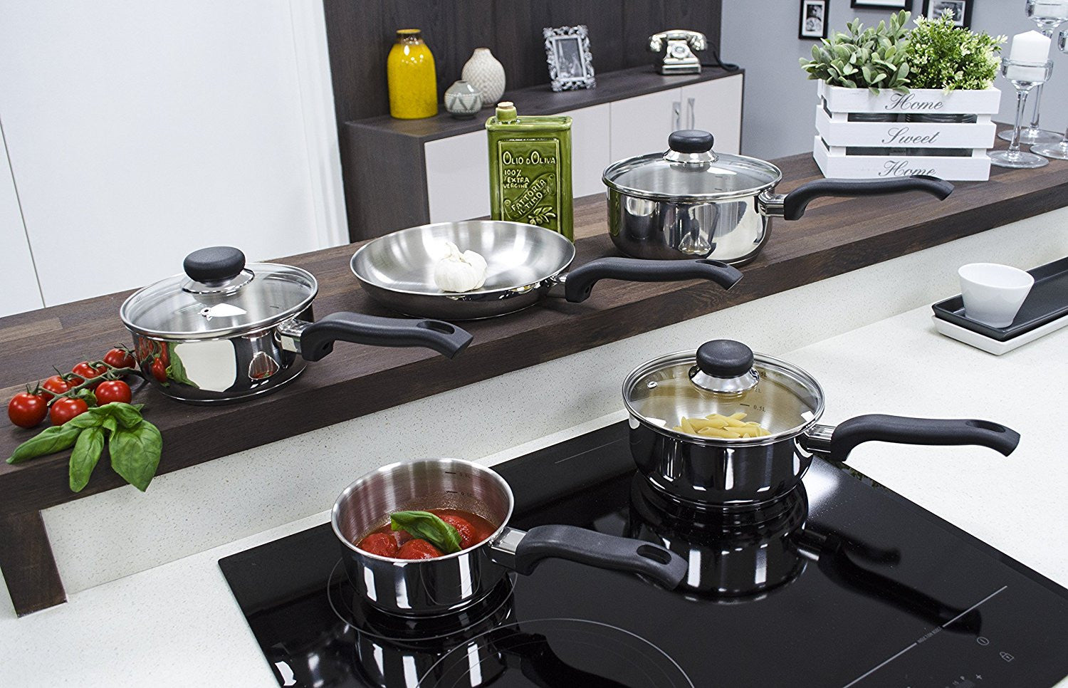 Ready Steady Cook Bistro Stainless Steel Cookware Set, Silver and Black