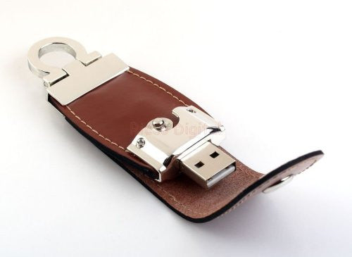 8GB Leather USB Flash Disk with Polished Key Ring