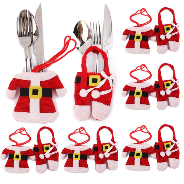 Santa Suit / Father Christmas or Snowman Cutlery Holders / Table Decoration