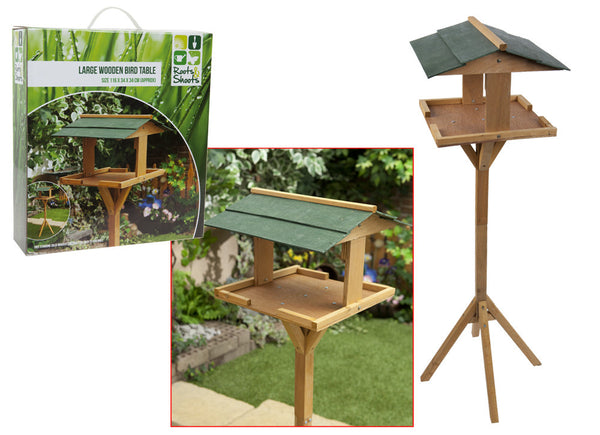 LARGE WOODEN GARDEN BIRD TABLE
