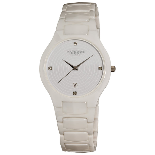 Akribos XXIV Women's AK516BK Ceramic Slim Quartz Watch