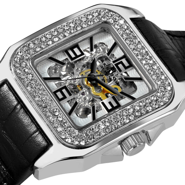 Akribos XXIV Women's Square Crystal Skeleton Automatic Watch