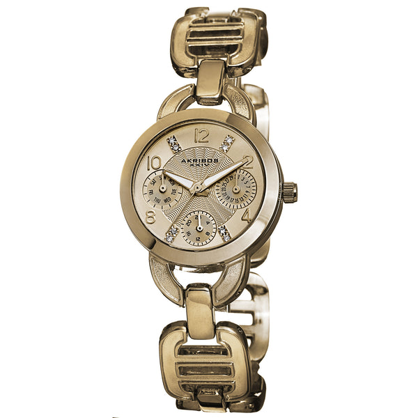 Akribos XXIV Women's AK703 Impeccable Crystal Multifunction Chain link Bracelet Watch
