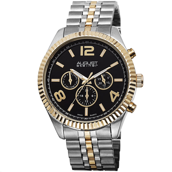 August Steiner Men's AS8096 Swiss Quartz Multifunction Stainless Steel Bracelet Watch