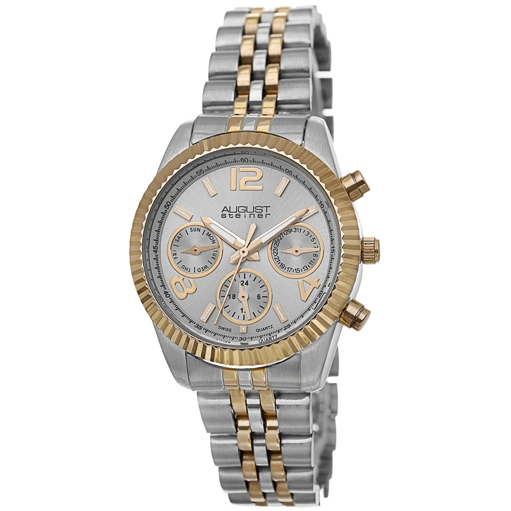 August Steiner Women's AS8103 Swiss Quartz Multifunction Stainless Steel Bracelet Watch