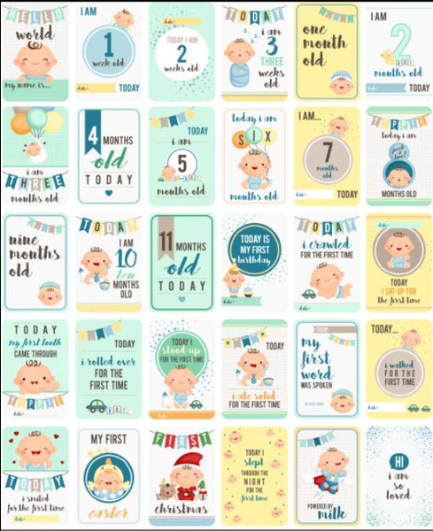 Baby Milestone Cards - Double Sided - Boys and Girls in 1 Pack!