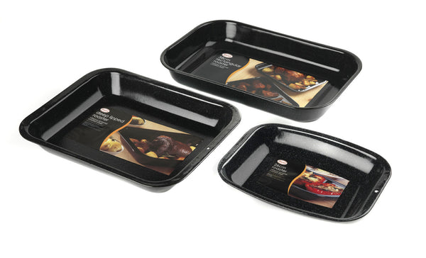 3-Piece Vitreous Enamel Roaster and Chop Tray Set