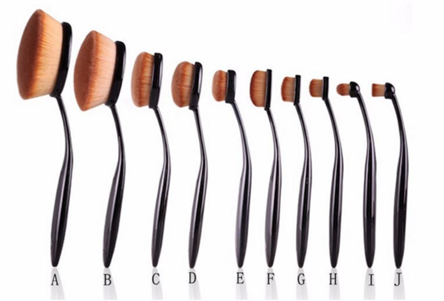 10 Piece Oval Make Up Brush Set