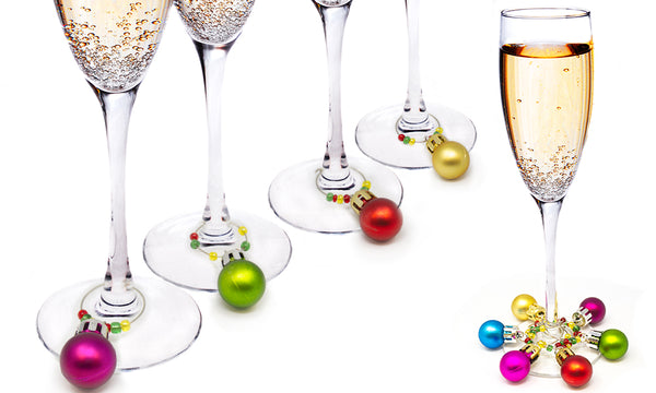 Christmas Bauble Wine Glass Charms (6 Pack)