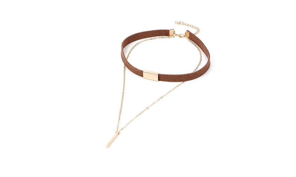 Faux Leather Choker Necklace with Gold or Silver Pendant