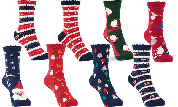 Cotton Rich Assorted Women's Christmas Socks