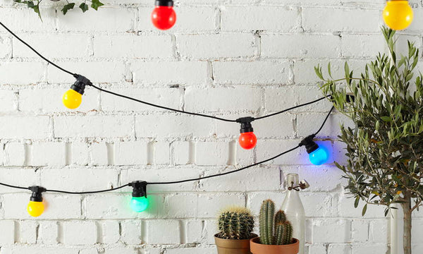 Solar Powered Outdoor Colour Festoon Retro Bulb String Lights