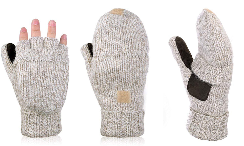 Winter Warm Wool Half-finger Mitten Gloves