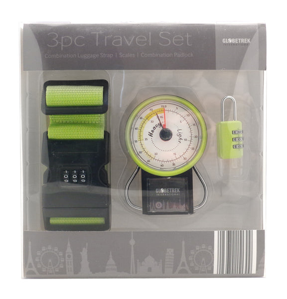 3 Piece Travel Set - Combination Luggage Strap, Scales, Combination Padlock