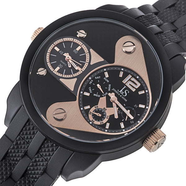 Joshua & Sons Men's JS-40/ JS52 Quartz Triple Time Zone Rubber Strap Watch