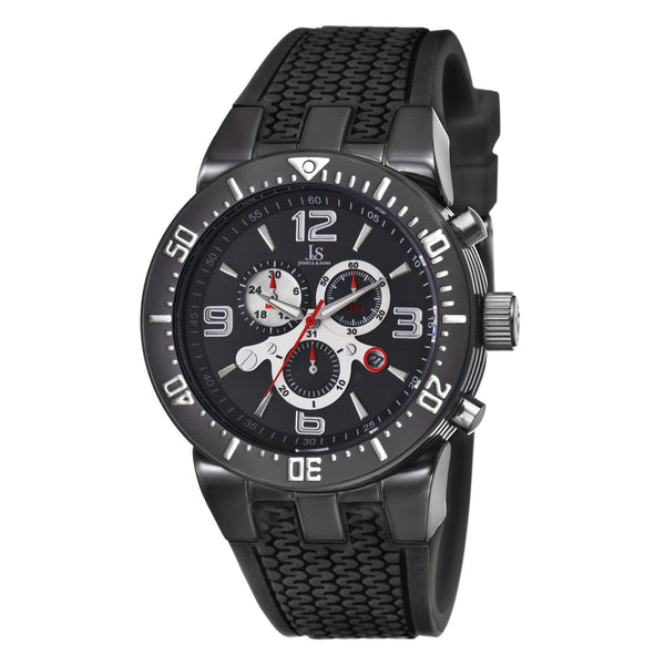 Joshua & Sons Men's JS55 Swiss Chronograph Black Sport Strap Watch