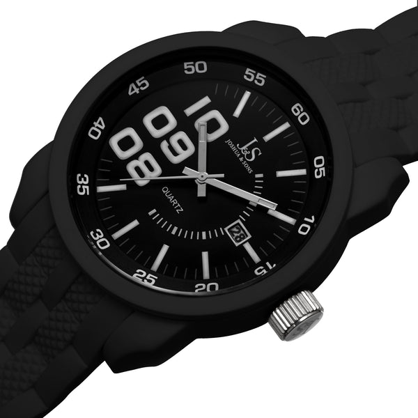 Joshua & Sons Men's Quartz Triple Time Zone Rubber Strap Watch