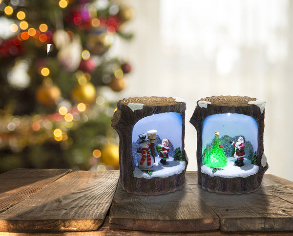 Christmas Log Scene Ornament with LED