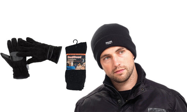 Men's Thinsulate Hat and Gloves With Three Pairs of Heatguard Socks Set