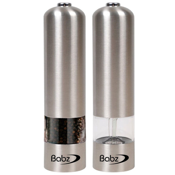 2 x Stainless Steel Electric Electronic Salt & Pepper Mill Grinder