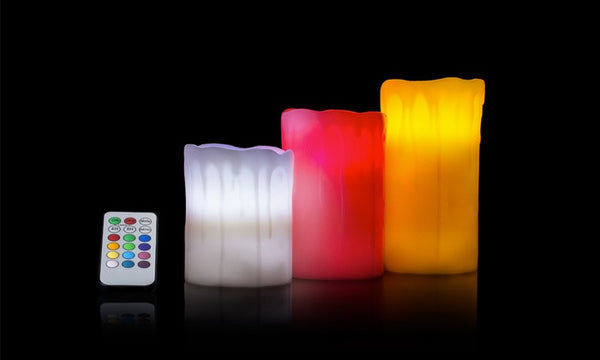 3 x LED WAX MOOD COLOUR CHANGING FLAMELESS SCENTED CANDLES + REMOTE CONTROL