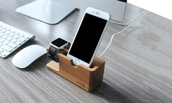 Kequ Bamboo iPhone and Apple Watch Dock