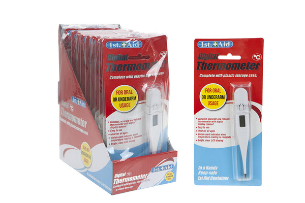 WHITE DIGITAL THERMOMETER IN CASE