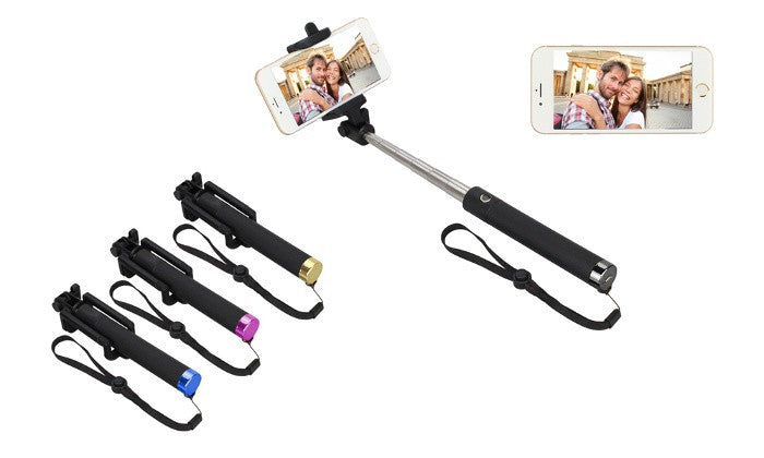 Pocket-Size Folding Selfie Stick for Smartphone With Bluetooth Button