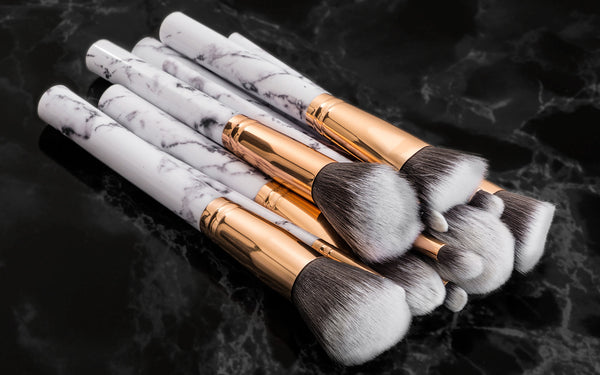 10pc Marble Make Up Brushes