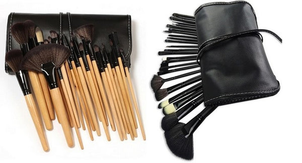 24-Piece Makeup Brush Set with Faux Leather Case